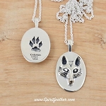 Sterling Silver Two Sided Fox Pendant with Sterling Silver 18