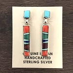 Multi Colored Navajo Inlaid Rectangle Earrings Fred Begay