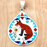 Zuni inlaid FOX pendant by Nancy and Ruddell Laconsello