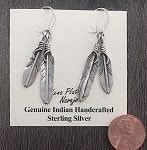 Sterling Silver Double Feather Earrings
