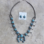 Morenci Turquoise Squash Blossom Necklace Set