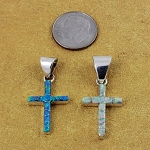 Opal Cross Pendant Blue or White