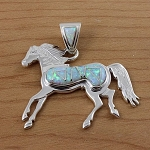 Sterling Silver Opal Horse Pendant