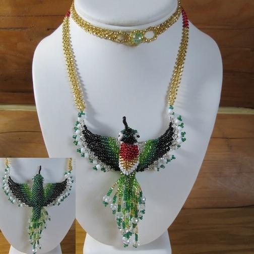 Hand Beaded Hummingbird Necklace Elaborate