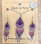 Necklace and Earrings String Art Purple Color Set
