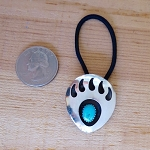 Sterling Silver Bear Paw Hair Tie with Turquoise Nugget - Unisex