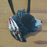 Bear pendant/pin carved from buffalo bone then hand painted