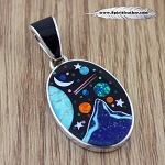 Inlaid Blue Mountain, Mother Earth and Midnight Sky Galaxy Pendant