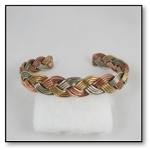 Braided Tri Toned Copper Bracelet