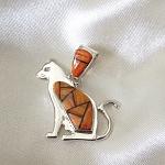 Calvin Begay Spiny Osyter Cat Pendant