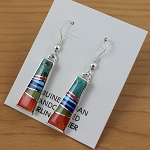 Calvin Begay Rectangle Multi Color Earrings