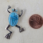 Calvin Begay Turquoise Leaping Frog Pendant/Pin