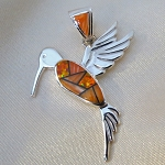 Calvin Begay Orange Spiny Oyster and Orange Opal Hummingbird Pendant