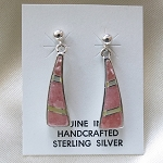 Calvin Begay Rhodochrosite Earrings