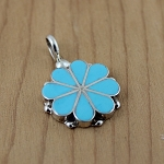 Channel inlay Turquoise Flower Pendant by Diana Shebala