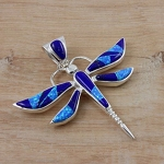 Large Lapis Lazuli and Blue Opal Dragonfly Pendant