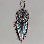 Beaded Dream Catcher  - Black White Purple