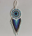 Beaded Dream Catcher - White Blue Black