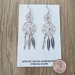 Navajo Sterling Silver Large Dream Catcher Earring with three drop feathers