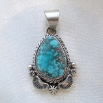 Dry Creek Turquoise Pendant and Antiqued Silver Work