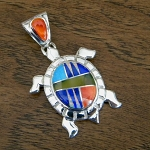 Calvin Begay Multi Colored Turtle Pendant