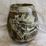 Horse hair pottery with Elk carvings