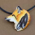 Fox pendant/pin carved from buffalo bone then hand painted