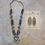 Necklace and Earrings Beaded Set - Gold and Black