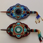 Hand Beaded Oval Hair stick