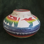 Horse hair pottery with hummingbird designs