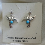 Sterling Silver and Turquoise Hummingbird Earrings