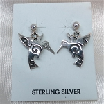 Sterling Silver and Hummingbird Earrings
