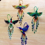 Hand Beaded Hummingbird Ornaments