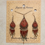 Necklace and Earrings String Art Earth Color Set
