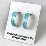 Sterling Silver and Turquoise Inlaid Hoop Earrings
