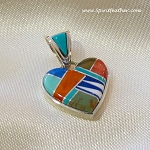 Calvin Begay Multi Colored Heart Pendant