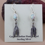 White Opal and Sterling Silver Earrings with Drop Feathers