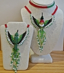 Hand Beaded Ruby-Throated Hummingbird Necklace - Elaborate