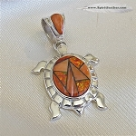 Calvin Begay Orange Spiny Oyster Turtle Pendant