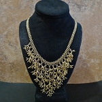 Hand beaded Gold Coral Stitch necklace