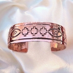 Copper bracelet with native designs
