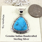 Kingman Turquoise Pendant with Sterling Silver Chain