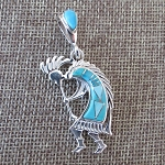 Sleeping Beauty Turquoise Kokopelli Pendant