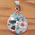 Zuni inlaid hummingbird pendant by Laconsello