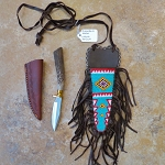 Native American Knife with beaded Sheath and leather Sheath