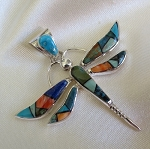 Calvin Begay Large Multi-colored Dragonfly Pendant
