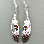 Bone carved eagle feather earrings with painted medicine wheel