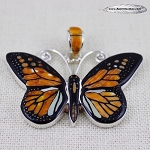 Inlaid Monarch Butterfly Pendant