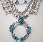 Turquoise and Coral Squash Blossom Necklace Set