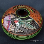 Native American Pottery with Hummingbird